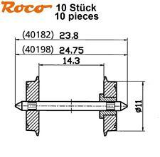 Roco H0 40198-S DC Paire de roues standard isolé sur un côté 11 mm (10-pc) NEUF