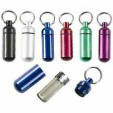 5pc Small Pill Containers Organizers w/ ID Key Chain Holder ( Assorted Colors)