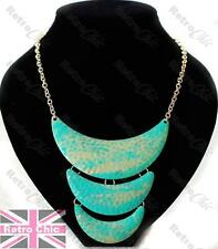 TURQUOISE green GOLD fashion COLLAR NECKLACE retro HAMMERED METAL choker ENAMEL