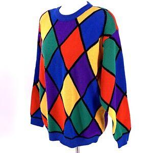 Vintage 80's Multicolor Harlequin Sweater Size Large Wool Blend