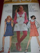 """1971 SIMPLICITY #9776- LADIES """"HOW TO SEW"""" BLOUSE & JUMPER or DRESS PATTERN 16uc"""