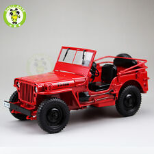 1/18 1/4 Ton US ARMY WILLYS JEEP TOP DOWN Diecast Car Model Red Welly