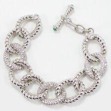 VTG Sterling Silver - Judith Ripka Jade Cubic Zirconia Link Bracelet - 61g