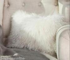 Mongolian Lamb Wool Cushion Cover White Curly Fur Pillowcase 12*20inc High-grade