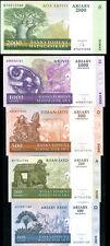 MADAGASCAR SET 5 PCS 100 200 500 1000 2000 Ariary P 86 87 88 89 90 UNC