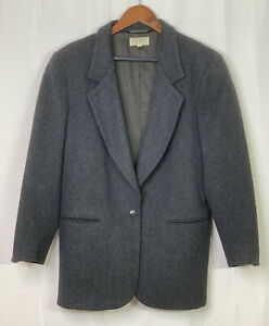 LL Bean Women's Size 8 Charcoal Gray Wool Cashmere Blazer Jacket USA Vintage