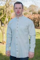 Traditional Irish Grandfather Shirt Blue line Cotton Emerald Isle Weaving sw1382