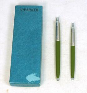 Vintage Parker Jotter Compact Mini Girl's Olive Green Ballpoint Pens Set