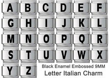 LETTER ITALIAN CHARM BLACK ENAMEL 9mm Charm x1 - ABCDEFGHIJKLMNOPQRSTUVWXYZ