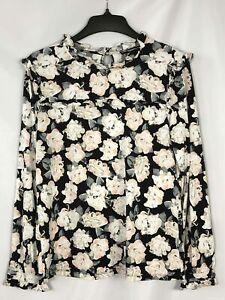 Karl Lagerfeld Black Rose Floral Top - Size Medium Women's