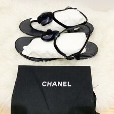 Chanel Black Blue suede patent leather Flower logo Thong Summer sandal Sz 40.5