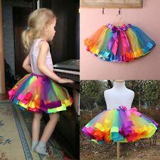 Girls Kids Baby Rainbow Tutu Dress Colorful Skirt Party Costume Fancy Pettiskirt