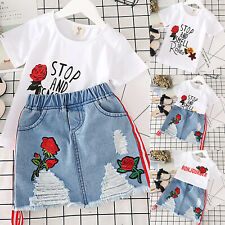 Kids Girls Embroidery Mini Jeans Dress Outfit Tops T Shirt + Skirt Party Set