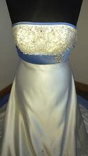 Mori Lee Designer Bridal Wedding Dress Ivory & Blue Size 14