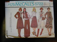 Vintage McCall 5723 Size 12 Bust 34  Unlined Jacket Or Vest, Blouse & Skirt 1977