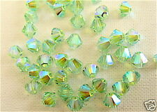 24 Chrysolite AB2X Swarovski Beads Bicone 5328 4mm