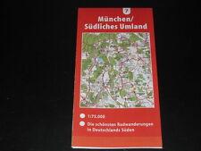 Fahrradkarte Tourenkarte Radwanderungen Deutschland Süd: München  südl. Umland
