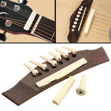 1 Set Acoustic Guitar Rosewood Bridge with Bone Pins Saddle Part and Nut Kit