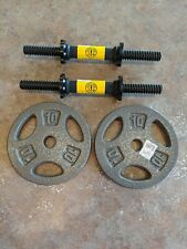 Set Of 2 Gold's Gym Dumbbell Handles With Spinlock Collars And 2 10 Lb Plates