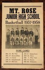 1957-8 York,Pennsylvania Mt.Rose Jr.High School Basketball team schedule poster*