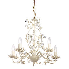 Endon Lullaby chandelier 5x 60W Cream brushed gold clear pearl effect acrylic