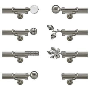 Metal Double Eyelet Extendable Curtain Pole Rod Silver Chrome 19mm Without Rings