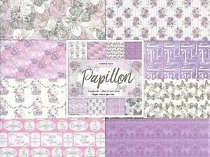 LAVENDER PAPILLON Backing Papers 6x6 Sample Paper Pack 8 Sheets 120gsm