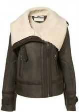 Topshop Premium Sheepskin Shearling Leather Aviator Biker Jacket - Size 8