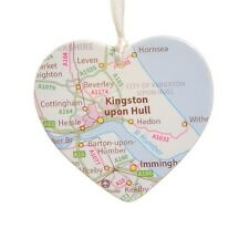 Map Ceramic Heart - Personalised Christmas Tree Decoration