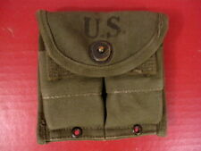 WWII M1 Carbine Magazine Belt Pouch - OD Green - Marked: Ajay 1945 - Excellent