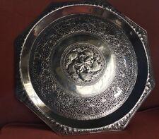 Large Antique Victorian Silver Salver Tray. Sri Lanka Silver.Ceylon.1910.1112gms