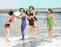 "1924 Bathing Beauties on Beach Vintage Photograph 8.5"" x 11"" Reprint Colorized"