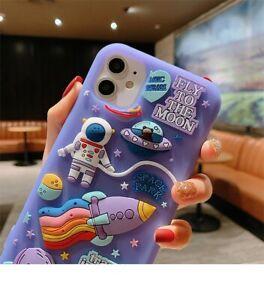 Cute Cartoon 3D Space Astronaut Case For iPhone 11 12 Pro Max Mini XS X XR 7 8