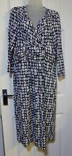 Artigiano Navy Blue & White Abstract Mock Wrap Stretch Jersey Dress UK 12