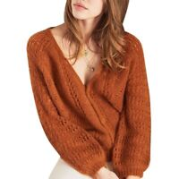 Women's V-neck Sweater Cardigan Knitwear Casual Long Sleeve Loose Stretch Warm L