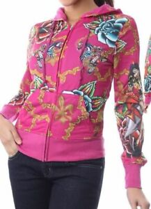 Fuchsia Pink Tattoo Love Kills Slowly Zip Front Hooded/Hoodie Jacket