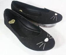 T.U.K. England Vegan SUEDE 7 BLACK Sophistakitty Shoes Ballet Flats Cat Face