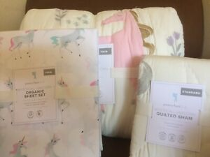POTTERY BARN KIDS Mystical Unicorn TWIN Quilt Sham & Sheets Set 5 pc NEW
