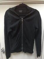 Zara Man Black Hooded Cardigan Silver Zip S 38 Mens