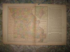 ANTIQUE 1901 MISSOURI ST LOUIS MAP RAILROAD FARMING SUPERB DETAILED NR