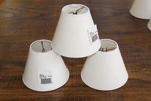 """New Lot of 3 Fabric Shade Small White NWT 3.75"""" x 4.75"""" Lamp Chandelier Matte"""