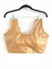 Saree de boda sari indio Oro Blusa Crop Top Choli 10/12 Nuevo Ajustable