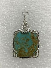 """Handmade ~ Sterling Silver .925 ~ Wire Wrapped Square Turquoise 1"""" x 2"""" Pendant"""