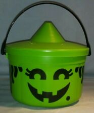 Vintage McDonalds Halloween Pail Witch 1986 with Lid Green