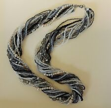 Vintage Multistrand Necklace Pearls, Crystals, Glass Beads Shades Gray & Silver