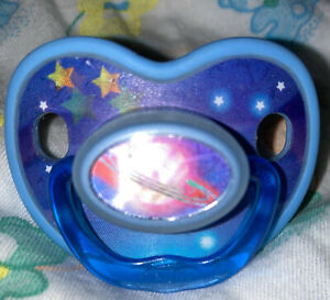 Vintage Evenflo Silicone Pacifier Blue Planets 🪐 &Stars!! Motion Effect-RARE!!