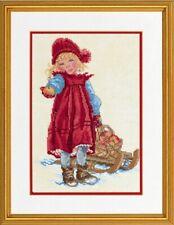 Girl with Sleigh Cross Stitch Kit - Eva Rosenstand - 12-966