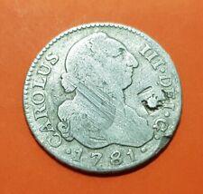 RESELLO VIQUE España 2 REALES 1781 Madrid Spain silver coin LATTICE COUNTERMAKED
