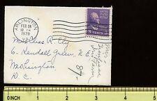 """US Mini-Cover  3 5/8"""" x  2 5/8"""" 1939 Arlington, Va to Washington DC"""