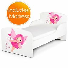 FAIRY DUST JUNIOR TODDLER BED PINK/WHITE + FULLY SPRUNG MATTRESS KIDS GIRLS